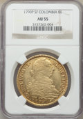 Colombia, Colombia: Charles IV gold 8 Escudos 1790 P-SF AU55 NGC,...