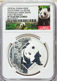 "China: People's Republic silver Proof ""Honolulu HSNA Coin Show"" 1 Ounce Commemorative Show Panda 2016 PR70 Ult..."