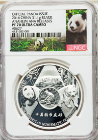 "China: People's Republic silver Proof ""Anaheim ANA Coin Show"" 1 Ounce Commemorative Show Panda 2016 PR70 Ultra..."