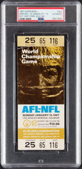 Football Collectibles:Tickets, 1967 Super Bowl I (Packers vs. Chiefs) Full Ticket - Gold Variation, PSA Authentic....