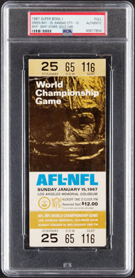 1967 Super Bowl I (Packers vs. Chiefs) Full Ticket - Gold Variation, PSA Authentic