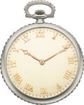 Timepieces:Pocket (post 1900), Touchon & Co. Platinum Pocket Watch With French-Cut Diamond Rim & Bow, circa 1920's. ...