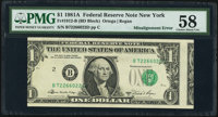 Misaligned Face Printing Error Fr. 1912-B $1 1981A Federal Reserve Note. PMG Choice About Unc 58
