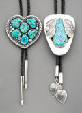 American Indian Art:Jewelry and Silverwork, Two Large Turquoise Bolo Ties... (Total: 2 )