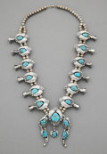 American Indian Art:Jewelry and Silverwork, A Navajo-Style Squash Blossom Necklace...