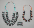 American Indian Art:Jewelry and Silverwork, Two Navajo Fetish Necklaces / Matching Earrings... (Total: 3 )