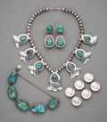 American Indian Art:Jewelry and Silverwork, Five Southwest-Style Jewelry Items... (Total: 10 )