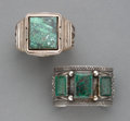 American Indian Art:Jewelry and Silverwork, Two Navajo Bracelets c. silver, turquoi...