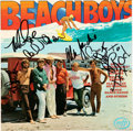 Music Memorabilia:Autographs and Signed Items, The Beach Boys Band Signed and Inscribed (to Rod McKuen) Stereo Vinyl LP Sleeve (Music for Pleasure, MFP 5235)....