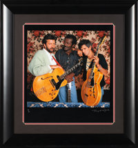 Chuck Berry/Keith Richards/Eric Clapton Rare Framed Photo Print Signed by Photographer Terry O'Neill