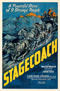 "Stagecoach (United Artists, 1939). Fine+ on Linen. One Sheet (27"" X 41""). From the Mike Kaplan Collection"
