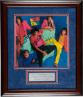 Music Memorabilia:Autographs and Signed Items, The Rolling Stones Band-Signed Dirty Work Album Cover In Frame With Plaque (1986). ...