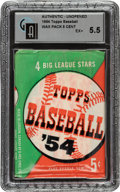 Baseball Cards:Unopened Packs/Display Boxes, 1954 Topps Baseball 5-Cent Unopened Wax Pack GAI EX+ 5.5. ...