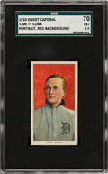 Baseball Cards:Singles (Pre-1930), 1909-11 T206 Sweet Caporal 350/30 Ty Cobb (Portrait-Red) SGC 70 EX+ 5.5....