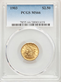 1903 $2 1/2 MS66 PCGS. PCGS Population: (333/85). NGC Census: (300/93). CDN: $900 Whsle. Bid for NGC/PCGS MS66. Mintage...