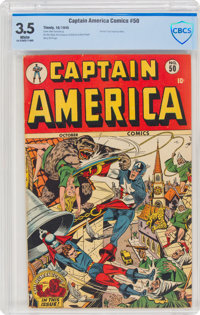 Captain America Comics #50 (Timely, 1945) CBCS VG- 3.5 White pages