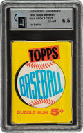 Baseball Cards:Unopened Packs/Display Boxes, 1960 Topps Baseball (1st Series) 5-Cent Wax Pack GAI EX-MT+ 6.5. ...