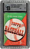 Baseball Cards:Unopened Packs/Display Boxes, 1954 Topps Baseball 5-Cent Unopened Wax Pack GAI NM 7. ...