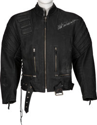 Arnold Schwarzenegger Signed Black Leather Costume Jacket Worn Onscreen In Terminator 3: Rise of the Machines</...