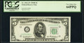 Fr. 1963-J* $5 1950B Federal Reserve Star Note. PCGS Very Choice New 64PPQ