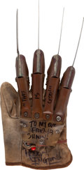 Movie/TV Memorabilia:Autographs and Signed Items, Robert Englund Signed and Inscribed Replica Freddy Krueger Glove....