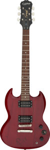 Musical Instruments:Electric Guitars, AC/DC/Angus Young Signed and Inscribed Red Epiphone SG Electric Guitar (Serial #0904232097)....