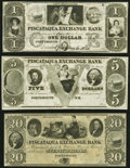 Obsoletes By State:New Hampshire, Portsmouth, NH- Piscataqua Exchange Bank $1; $5; $20 18__ Remainders Choice About Uncirculated or Better.. ... (Total: 3 notes)