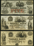 Obsoletes By State:Maryland, Hagerstown, MD- Valley Bank of Maryland $5 Jan. 31, 1856; $10; $20 Jan. 31, 1855 Choice About Uncirculated or Better.. ... (Total: 3 notes)