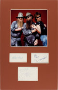 Music Memorabilia:Autographs and Signed Items, ZZ Top Autographs in a Matted Display....