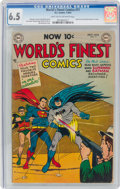 Golden Age (1938-1955):Superhero, World's Finest Comics #71 (DC, 1954) CGC FN+ 6.5 Light tan to off-white pages....