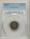Seated Dimes, 1865-S 10C Fine 15 PCGS. The slab states this is a P-mint, but it is really an S-mint coin. The coin will be reholdered at th...