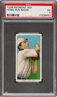 1909-11 T206 Piedmont 350 Home Run Baker PSA EX 5 - Pop Two, None Higher for Brand/Series!