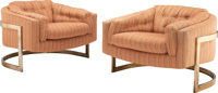 Milo Baughman (American, 1923-2003) Pair of Club Chairs, circa 1965, Thayer Coggin Upholstery and ch
