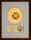 """Music Memorabilia:Awards, The Beatles """"A Hard Day's Night"""" 13 ¼"""" x 17 ¼"""" White Matte Gold Sales Award Presented to Band (Capitol, 1964)...."""