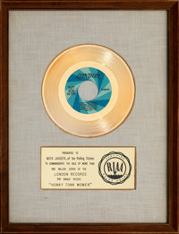 "The Rolling Stones ""Honky Tonk Women"" 13"" x 17"" White Matte RIAA Gold Record Award Presented to Mick..."