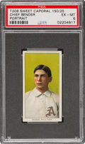 Baseball Cards:Singles (Pre-1930), 1909-11 T206 Sweet Caporal 150/25 Chief Bender (Portrait) PSA EX-MT 6 - Pop One, None Higher for Brand/Series. ...