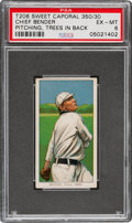 Baseball Cards:Singles (Pre-1930), 1909-11 T206 Sweet Caporal 350/30 Chief Bender (Trees In Background) PSA EX-MT 6. ...