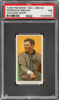 1909-11 T206 Piedmont 350-460/42 Mordecai Brown (Chicago On Shirt) PSA NM 7 - Highest Graded Factory 42!