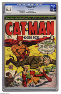 Catman Comics #9 (Continental, 1942) CGC FN+ 6.5 Off-white pages. Charles Quinlan cover. Quinlan and Joe Kubert art. Ove...