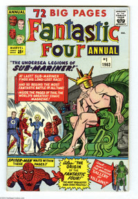 Fantastic Four Annual #1 (Marvel, 1963) Condition: VG. The Sub-Mariner and Spider-Man appear. Jack Kirby and Dick Ayers...
