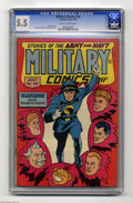 Golden Age (1938-1955):War, Military Comics #40 (Quality, 1945) CGC FN- 5.5 Slightly brittlepages. Featuring Blackhawk. Artists include Gill Fox. Overs...
