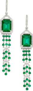 Estate Jewelry:Earrings, Emerald, Diamond, Platinum Earrings, Tiffany & Co.