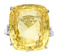 Yellow Sapphire, Diamond, Platinum Ring