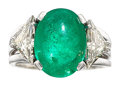 Estate Jewelry:Rings, Emerald, Diamond, White Gold Ring The ring fea...
