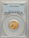 Indian Quarter Eagles: , 1908 $2 1/2 MS65 PCGS. PCGS Population: (582/116). NGC Census: (359/69). CDN: $2,000 Whsle. Bid for NGC/PCGS MS65. Mi...