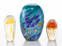 A Chris Pantano Vase with Two Satava Art Glass Jellyfish Paperweights, circa 2001 Marks to vase: Pantano, 2001<...