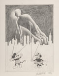 Works on Paper, Mark Kostabi (American, b. 1960). Kostaballon, 1991. Pencil on paper. 7-1/2 x 5-1/2 inches (19.1 x 14.0 cm) (image). Sig...