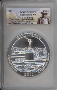2011 25C Gettysburg National Park Five-Ounce Silver MS69 Prooflike PCGS. PCGS Population: (2029/0). NGC Census: (0/0)...
