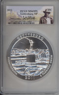 2011 25C Gettysburg Five-Ounce Silver MS69 Prooflike PCGS. PCGS Population: (2029/0). NGC Census: (0/0)....(PCGS# 507366...