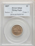 1857 1C MS64 PCGS. PCGS Population: (1178/285). NGC Census: (921/229). CDN: $1,225 Whsle. Bid for NGC/PCGS MS64. Mintage...